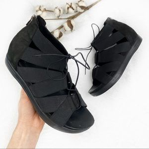 Eileen Fisher | Black Link Cross Lace Up Sandals